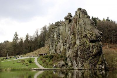 The E1 long distance hiking trail passes the famous rock formation Externsteine in Teutoburg Forest, Germany.
